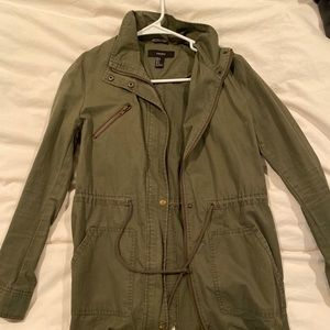 F21 Green Military Jacket with Drawstring Waist